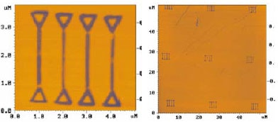 Lateral force microscopy of oxidized areas: pattern unit (left), 9 units (right).