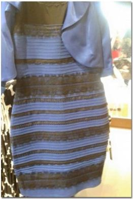 """A photo of """"The Dress"""" showing a combination of white and gold"""