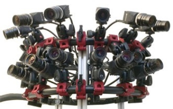 The camera array Disney Research constructed for capturing the panoramic videos.