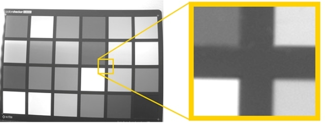 A. Enlargement of a raw RGB image capturing a color chart. The color channels are displayed as seen by the image sensor, with Bayer pattern – without demosaicing. B. Enlargement of a raw monochrome image capturing the same color chart. Gray-levels are consistent for each area and no Bayer pattern is present – demosaicing not required.