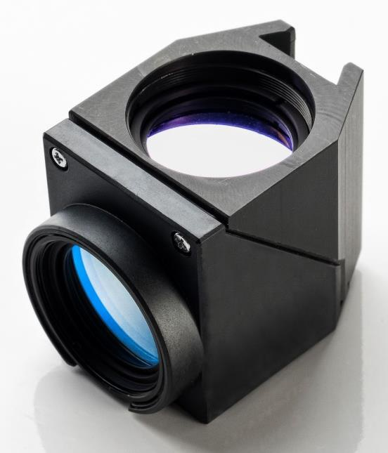Fluorescence filter cube containing hard-coated, next-generation thin-film optical filters.