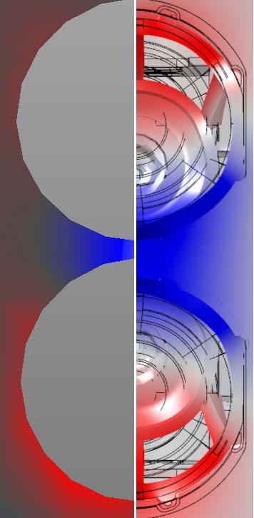 Measured modal shape at 222 Hz (left) and simulated modal shape at 281 Hz (right).