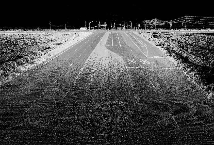 LIDAR data point cloud showing a detailed 3D street view. Image credit: Oregon State University