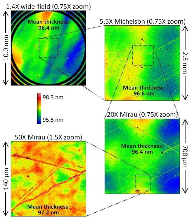 Thickness maps for an oxide-on-silicon film standard (certified thickness 96.6 nm), measured over a 70X range of magnification. The agreement in mean thickness is better than 1 nm across all objectives.