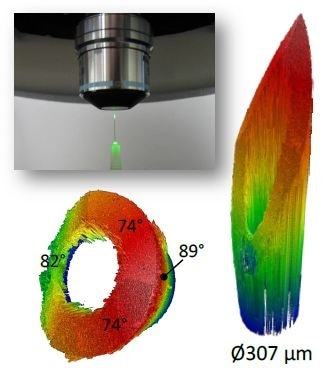 Hypodermic needle measured end-on in a single FOV. Upper left: photograph of setup. Right: obtained data over 1.8-mm scan range. Lower left: same data rotated to show measured slopes up to 89° and automatic identification of bore region.