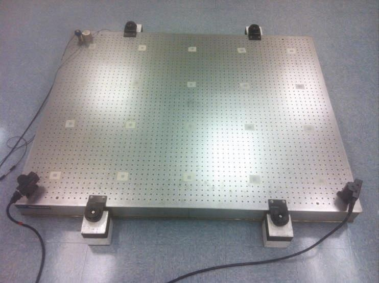 Optical breadboard with add-on active dampers prepared for laser Doppler vibrometer test.