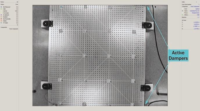 The measured surface as seen by the Polytec software through the laser-head camera.