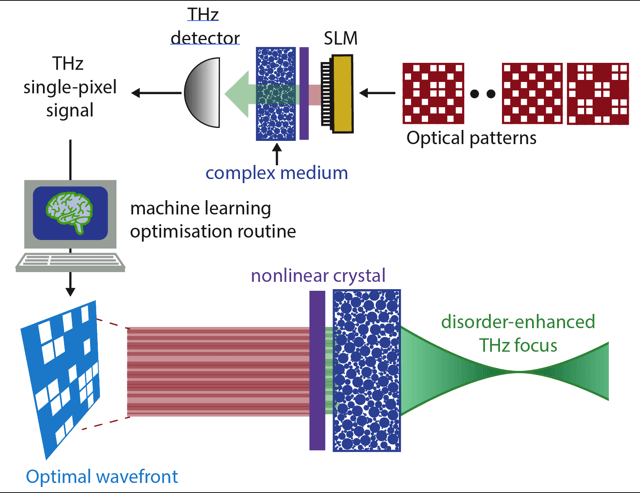 Single pixel THz imaging can be applied to engineer advanced functionalities in complex photonics media.