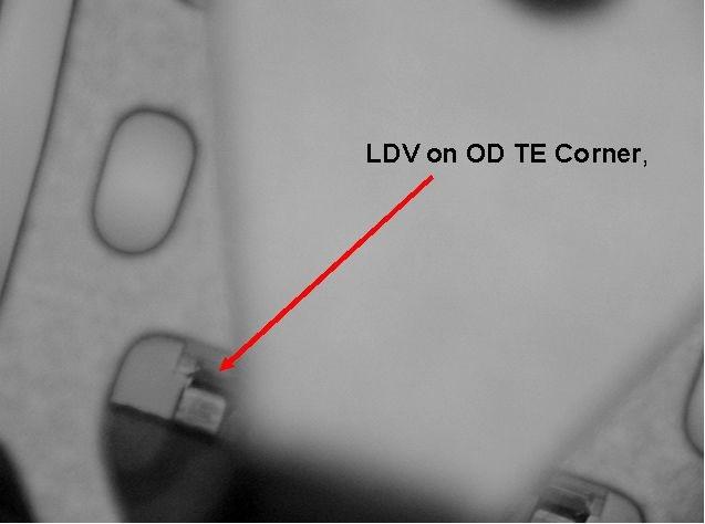 LDV on trailing edge corner (outside diameter).