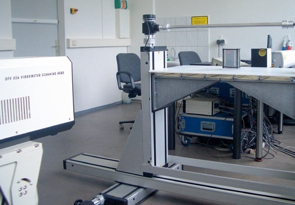 Laboratory setup includes: Excitation laser with scanner (right, background); positioning stage with sample (center); Scanning LaserVibrometer (left, foreground).