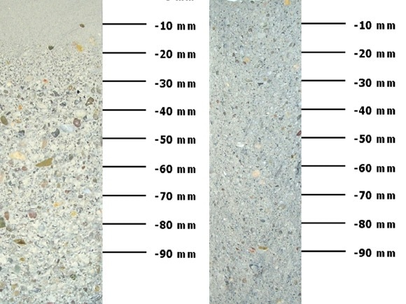 Mortar M1 with sedimentation phenomena (left) and homogeneous mortar M2 (right) with the heights of the measuring points.
