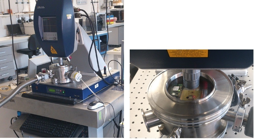 Left: Polytec MSA-400 at Tyndall, fitted with a custom vacuum chamber, active isolation table, and a high-voltage amplifier. Right: closer view of the vacuum chamber. A micromachined energy harvesting module is under test; a nearby ADXL345 inertial sensor is utilized to correlate excitation levels with transducer output.