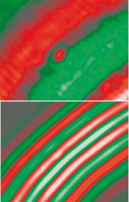 Primary compression waves (left) and flexural waves (right) in the measuring area post impact at 50 kHz (out-of-plane velocity fields).
