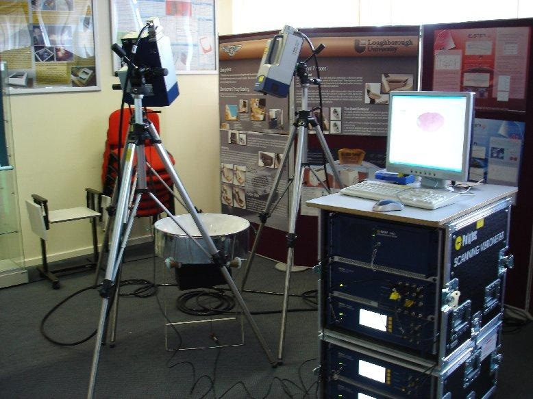 Set-up of the tri-laser system for the 3- dimensional scans of the soprano steelpan.