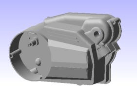 Gearbox cover for the case study and the parameters of the FE model.