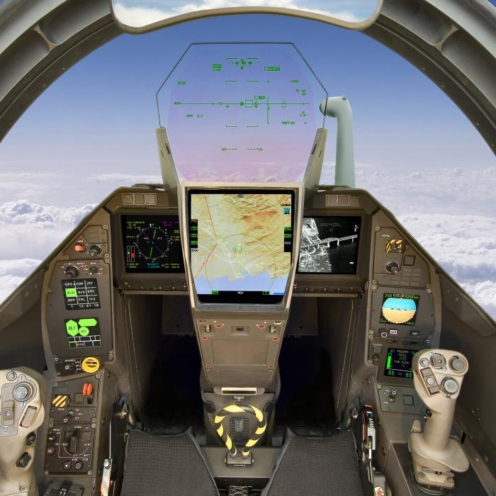 Cockpit of a military aircraft with Thales head-up display shown mounted above the control panel. Image Source: Thales Group