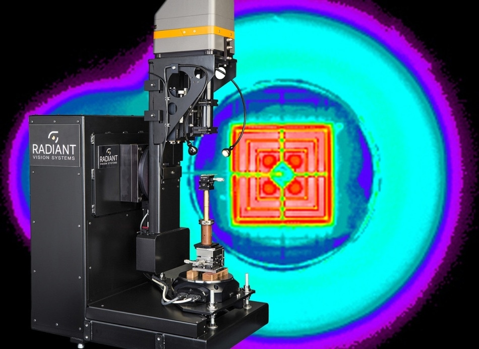 Source Imaging Goniometer: With two independent axes of rotation a source imaging goniometer maintains precise positioning between the DUT (device under test) and the imaging colorimeter.