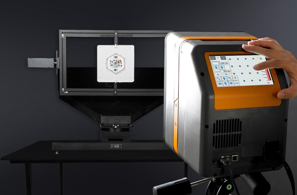 Measurement of LED luminaires. By directly measuring light sources from within the near field, a combination of a two-axis goniometer and imaging colorimeter can obtain detailed performance measurement in a compact laboratory space.