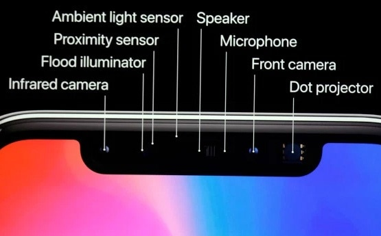 Configuration of the Apple® iPhone® X with facial recognition (including infrared camera, NIR flood illuminator, and NIR dot projector) as announced on Sept.  12, 2017. (Image: AP Photo/Marcio Jose Sanchez)