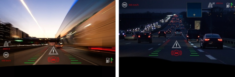 HUDs superimpose digital images on top of real-world environments, like AR. For this reason, a critical safety concern is visibility of projected images against all backgrounds. Images must be bright enough to remain discernible both day and night, and in all weather conditions.