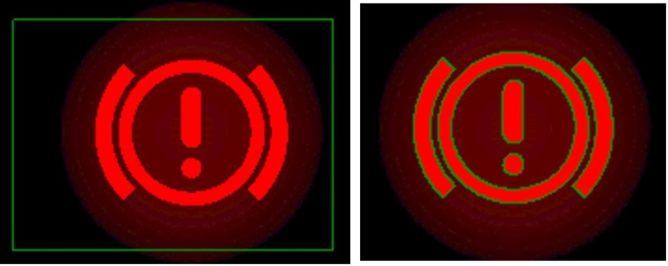 Comparison of static POI manually drawn in the software and Auto-POI (Automatic Points of Interest) adapted to an object based on color tolerances.