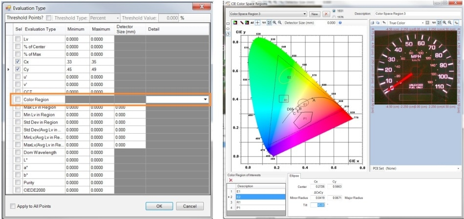 """By selecting """"Color Region"""" in the Auto-POI software tool, the user can draw shapes within the CIE color chart to define Cx, Cy tolerances for colored objects that should be included in the measurement POI set."""