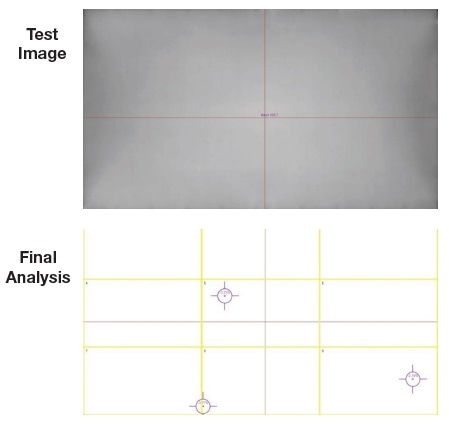 Radiant automated visual inspection software detects  particles on this metallic surface, which can cause unwanted variations in surface finish.
