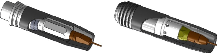CAD sketches of the investigated torches A (left) and B (right).