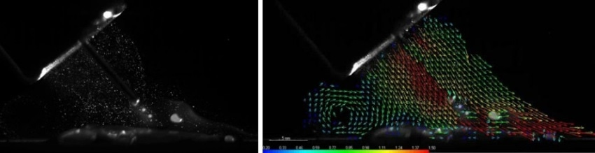 Examples of particle image (left) and the calculated vector field at torch B in a 45° pushed position with arc (right).
