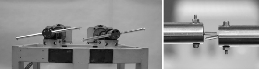 Left: Test rig without housing. Right: Rotors with specimens in collision position.
