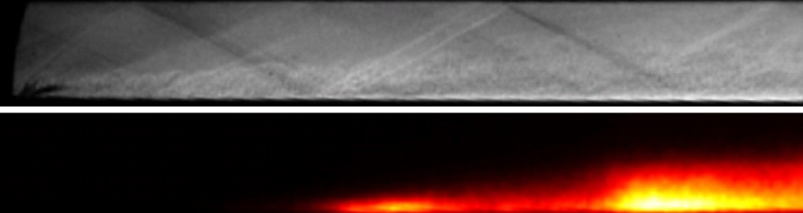 (Above) Schlieren image of the flow in the HyShot II combustion chamber near the injection location (seen at the bottom left corner) for steady combustion conditions. (Below) OH* chemiluminescence image of the same region.
