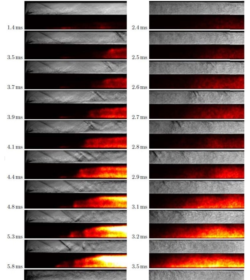 Quasi-synchronous Schlieren and OH* chemiluminescence visualizations of the transient flow (near) near the injector and (right) in the central combustion chamber.