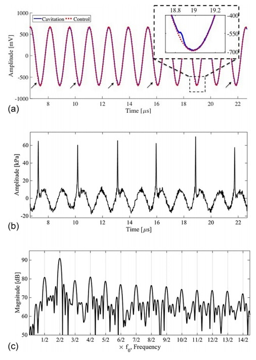 (a) Raw NH data recorded during the cavitation activity of Figure 2 (blue solid) and control exposure for an equivalent HIFU burst (red dot), without cavitation nucleation. The inset zoom around 19.0 µs, reveals a detected shock wave in the raw data, also arrowed for the rest of the trace. (b) Control subtracted and NH-deconvolved data, revealing the signal emitted by the cavitation captured in the high-speed imaging of Figure 2. (c) The cavitation spectrum obtained via Fourier transformation of (b).