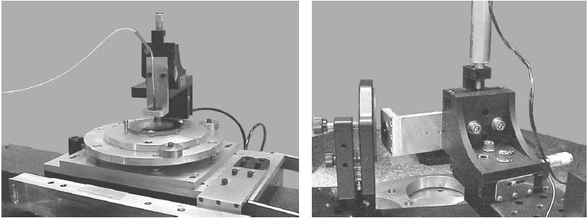 Experimental setup for testing nearly plano aspheres on linear air bearing is shown on the left and for spherical aspheres mounted on rotary air bearing is shown on the right.