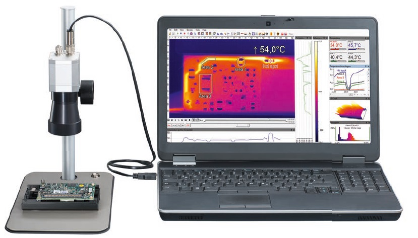 Measurement of hard disk electronicswith microscope optics. The license-freesoftware PIX Connect works as ananalysis tool.