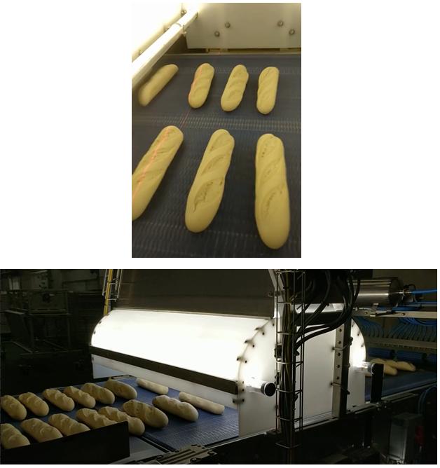 Par-baked baguettes passing through the vision inspection system