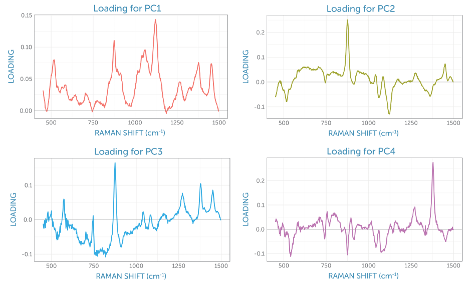 Component loadings from the non-centered PCA of the baseline-corrected Raman spectra recorded during the fermentation