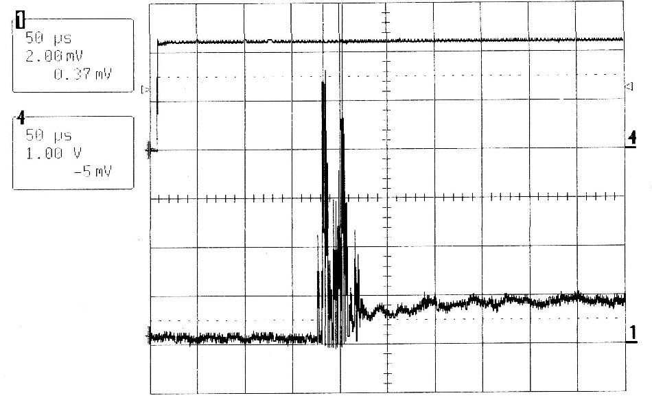 QCW MIR-Pac laser output (lower trace) and drive current waveform (upper trace) corresponding to the first 0.5 ms of Figure 2.