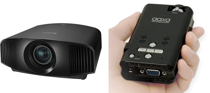 Sony's 4K LCoS projector (left), marketed for home theater use (Image: © Sony Corporation of America), and the Aaxa P2 LCoS Pico Projector (right)