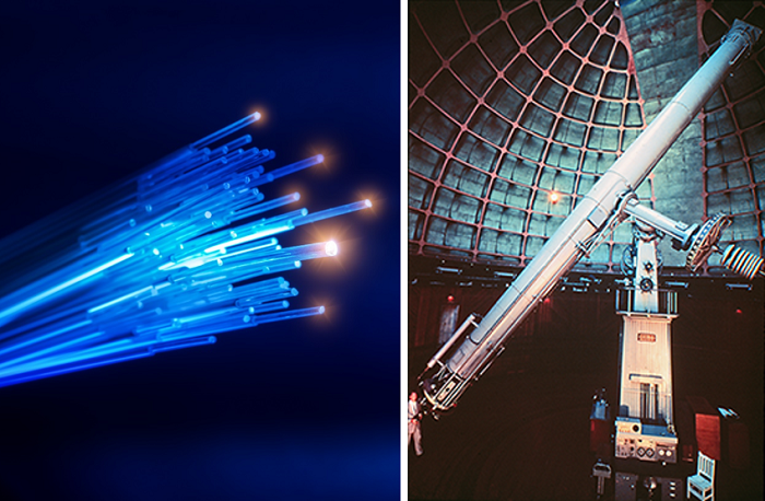 Optics applications include telecommunication fiber optics cables (left), and the 36-inch refracting telescope of Lick Observatory in Mt. Hamilton, California (right).