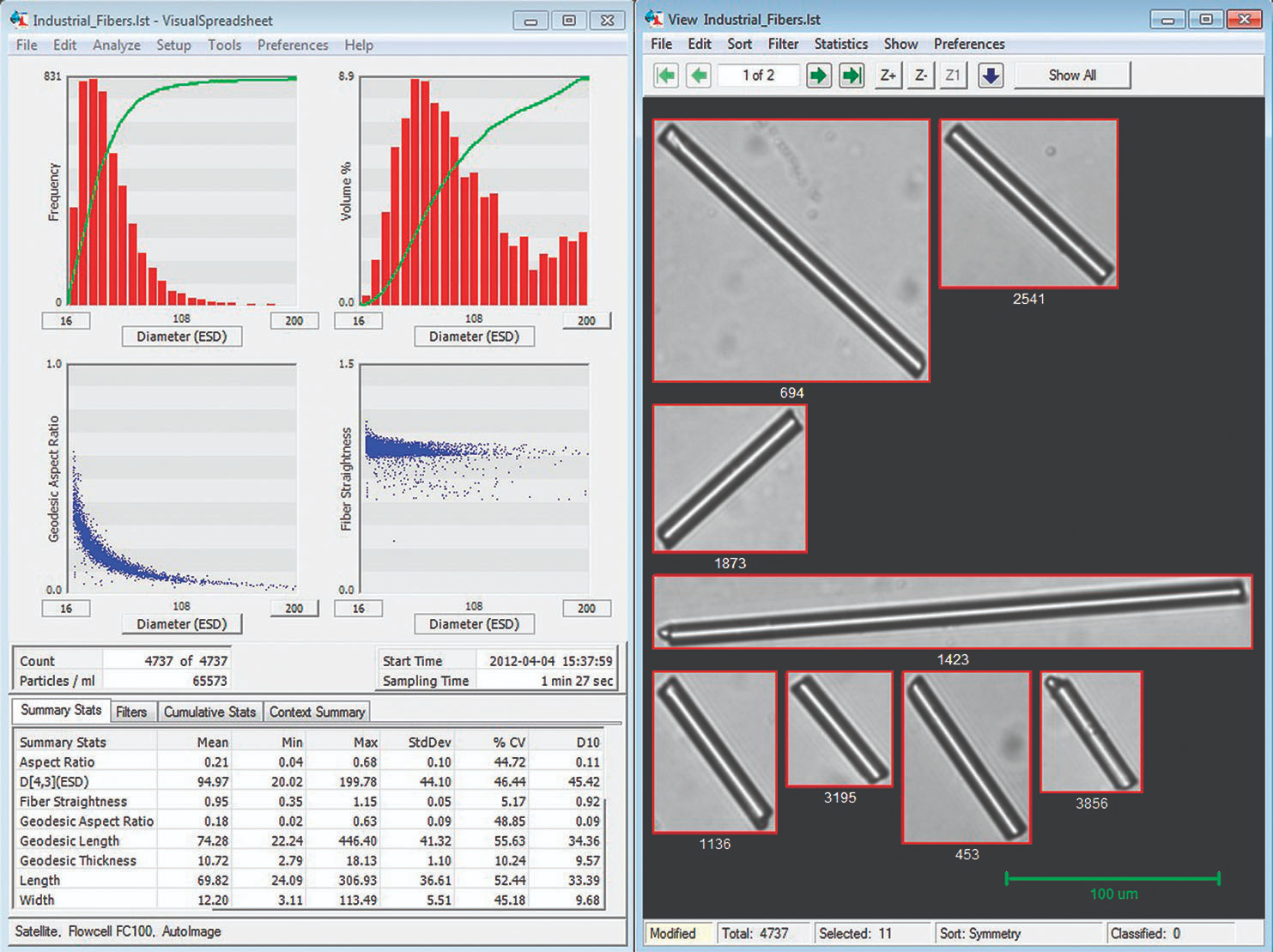 Screenshot of FlowCam analysis of industrial fibers.