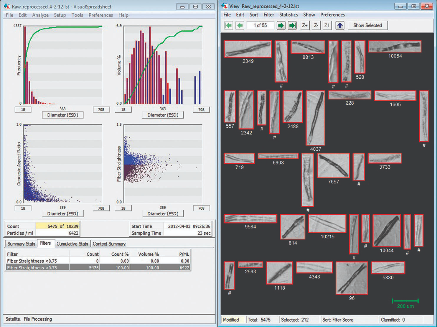 Screenshot of FlowCam analysis of fibers, with images on right representing those with Fiber Straightness >0.75.
