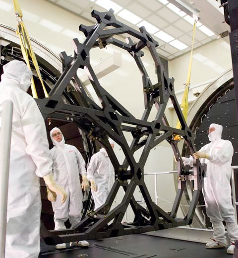 The support structure for the James Webb Space Telescope undergoes cryogenic testing for dimensional stability.