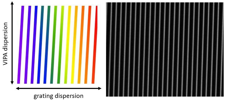 """Schematic of the display expected at the CMOS camera when the crossed VIPA and grating are illuminated with broadband (""""white"""") light. In the vertical direction, the VIPA provides high resolution, but only for a range of one FSR. In the horizontal direction, the grating separates the overlapping orders to allow the entire high-resolution spectrum to be """"unwrapped"""". Thus, the vertical stripes are spaced by one FSR in the horizontal direction. In the chart, red represents longerwavelengths; blue shorter wavelengths. A typical screen shot from the camera is shown on the right. Only a small portion of the full CMOS sensor is shown, covering 23 FSRs of the VIPA horizontally, and 0.5 FSR vertically."""