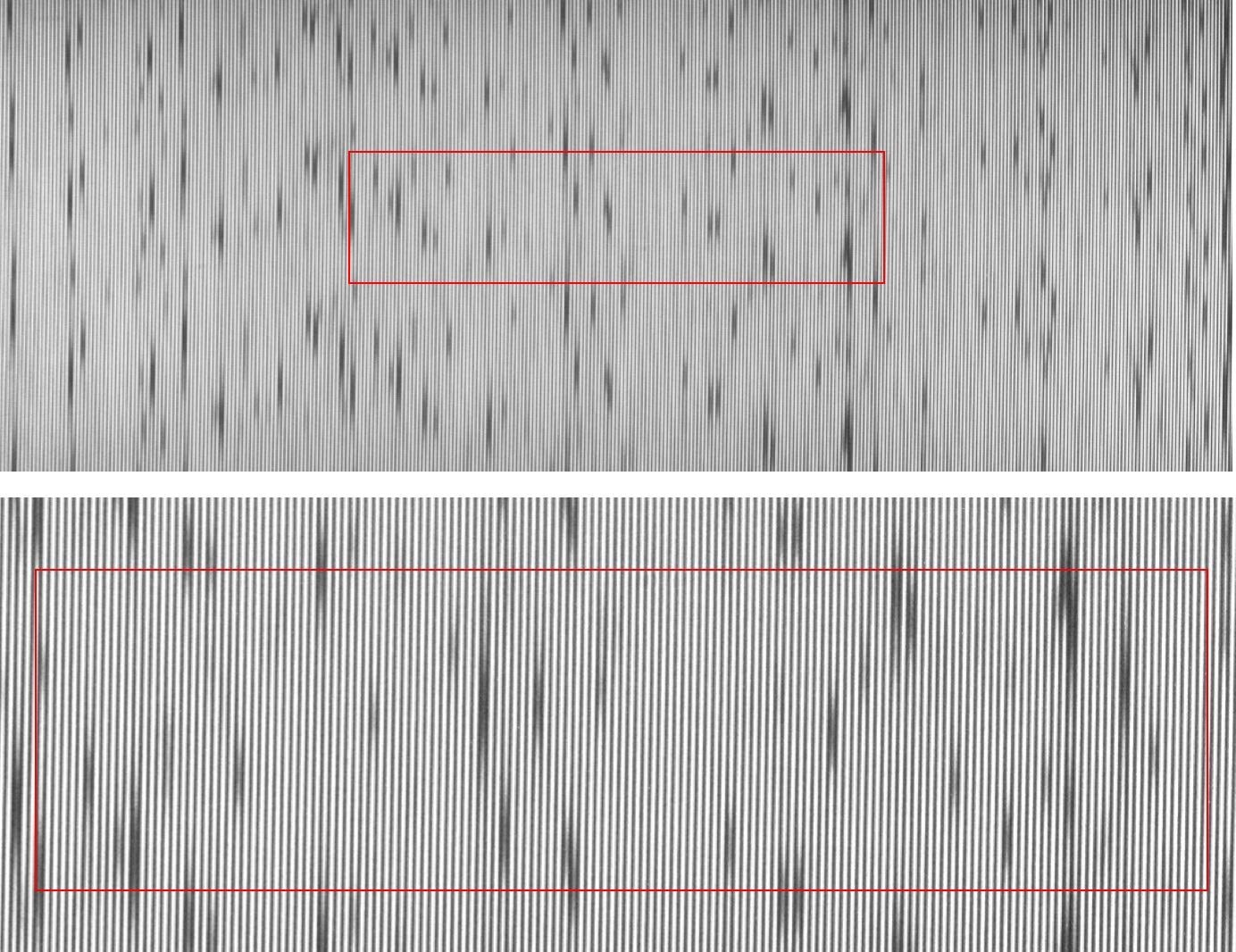 CMOS sensor images of sunlight taken with a HyperFine spectrometer. (The upper image covers the region from 527 to 547 nm, while the lower image covers a smaller spectral region from 532 541 nm). Multiple dark regions – each of which represents a Fraunhofer absorption line – interrupt the white light background of the sunlight. The red box in each image indicates one VIPA FSR in the vertical direction. The images were overexposed (i.e. highly saturated) for increased visibility.