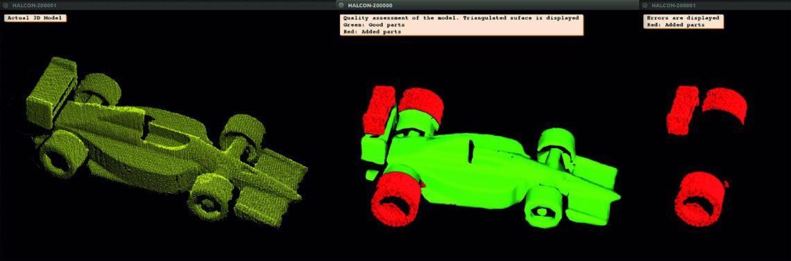 With HALCON 3D image processing, even the tiniest differences between the object and the reference model can be detected. Image: Demo by IDS, Control 2018, captured with an Ensenso 3D stereovision camera.