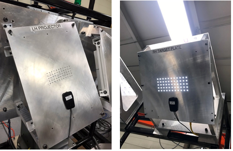 During HUD glass inspection, LED light is cast through the HUDSON's projector plate (left) and through the windshield under test, emulating a HUD projector. The target plate (right) is used similarly to produce an ideal HUD projection for system calibration.