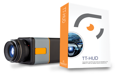 The ProMetric® Y Imaging Photometer captures images of complete HUD projections, and provides on-board image processing and analysis using a suite of HUD measurement tests in TT-HUD™ Software.