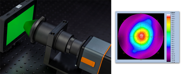 A Radiant Vision Systems FPD Conoscope Lens measures the view angle performance of a display (left), providing a polar plot of luminance as seen across angles to ±70° (right).
