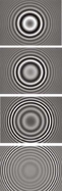Fringes for spherical surface in VSI and HDVSI mode (white light illumination) are visible only very close to the best focus plane for three different scan positions: close to the bottom, middle and top of sample.